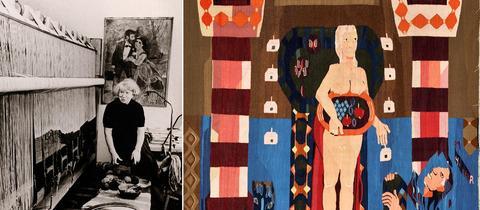 Hannah Ryggen am Webstuhl, um 1964, Adresseavisen, Trondheim / Hannah Ryggen, Livet glir forbi (Das Leben gleitet vorbei), 1939, 190 x 185 cm, Privatsammlung, Norwegen