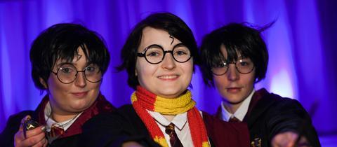 Teilnehmer am Harry-Potter-Weltrekordversuch auf der Buchmesse