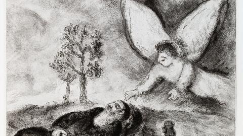 Marc Chagall: Elia von einem Engel berührt, Blatt 87 aus Bible, Eaux-fortes originales de Marc Chagall