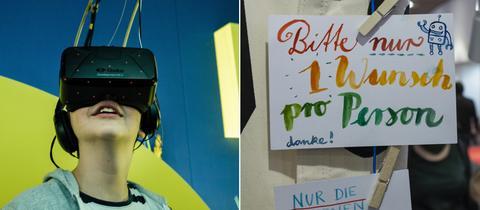 """Mädchen mit VR-Brille und Kopfhörern, Schild am Illumaten """"Bitte nur 1 Wunsch pro Person"""""""