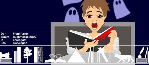 Figur im Comic-Style: Frau mit blutigem Buch sitzt im Bett mit aufgerissenem Mund.