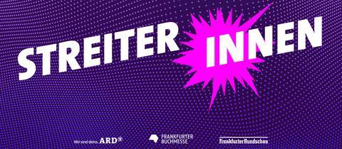 """Logo für die Gesprächsreihe """"Streiterinnen"""" - Text STREITER INNEN mit einem pinkfarbenen Stern"""