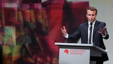 Frankreichs Staatspräsident Emmanuel Macron während der Eröffnungsfeier der Buchmesse