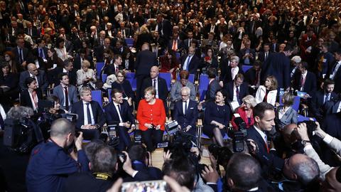Macron und Merkel bei der Eröffnung der Frankfurter Buchmesse