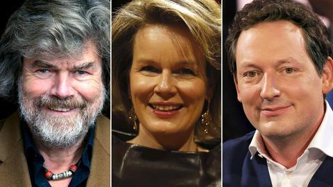 Bildkombination: Reinhold Messner, Königin Mathilde von Belgien, Eckart von Hirschhausen