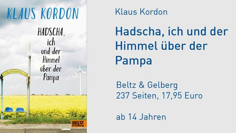 """Buchcover """"Hadscha, ich und der Himmel über der Pampa"""" zeigt eine verlassene Bushaltestelle"""