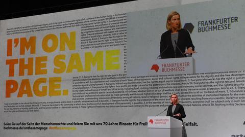 Federica Mogherini, EU-Außenbeauftragte aus Italien, bei der Eröffnungsfeier auf der Buchmesse.