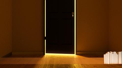 Aus einem dunklen Raum heraus leuchtet eine dunkle, leicht geöffnete Eingangstür