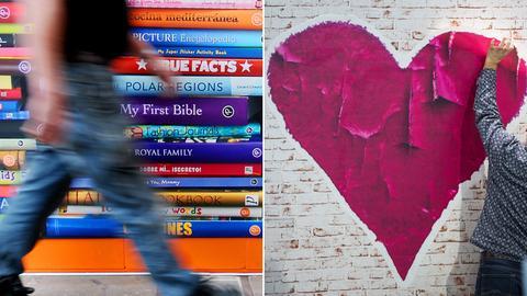 Collage aus zwei Motiven: Ein laufender Mann vor einem Bücherposter und ein Mann klebt ein großes Herz an die Wand.