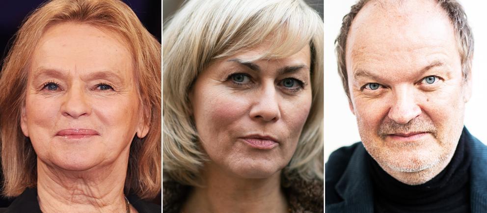 Collage mit Porträtfotos von Gesine Cukrowski  Elke Heidenreich Jens Wawrczeck
