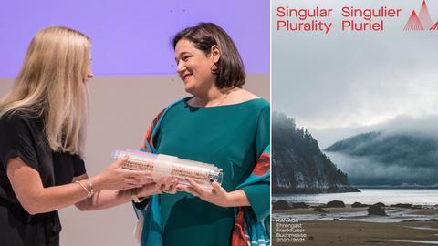 Collage: Übergabe der Gastrolle der Frankfurter Buchmesse von Norwegen an Kanada, von Margit Walsø an Caroline Fortin/Cover Kanada-Magazin zur Buchmesse 2021