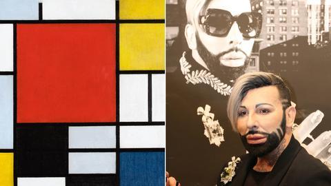 Collage: Werk von Mondrian und Harald Glööckler vor einem Selbstporträt