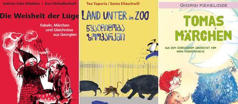 Drei verschiedene Buchcover von Kinder- und Jugendbüchern aus Georgien