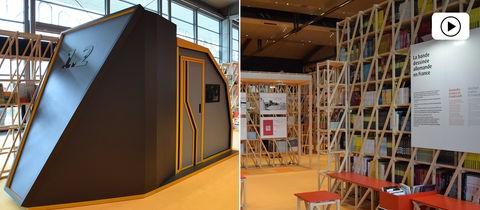 Eine futuristische Lesekapsel und ein Blick in den Pavillion mit Holzregalen