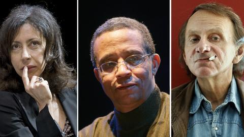 Bildkombo mit den Autoren Yasmina Reza, Yasmina Khadra und Michel Houellebecq