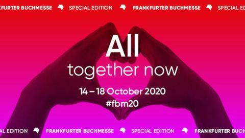"""Logo der Frankfurter Buchmesse """"Special Edition 2020"""" - zwei Hände zum Herz geformt mit dem Text All together now"""