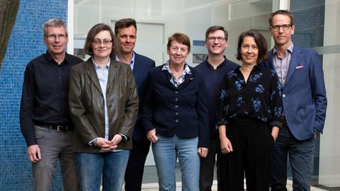 Jury des Deutschen Buchpreises: V.l.n.r.: Jörg Magenau, Daniela Strigl, Alf Mentzer, Margarete von Schwarzkopf, Björn Lauer, Petra Hartlieb, Hauke Hückstädt