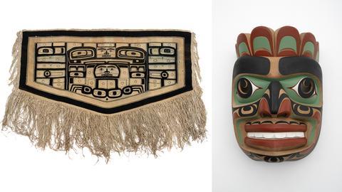 Chilkatdecke, Tlingit, British Columbia, Sammlung Weltkulturen Museum / Tom Hunt, Kwakwaka'wakw, Komokva, Maske aus Zedernholz, 1997, British Columbia, Sammlung Weltkulturen Museum