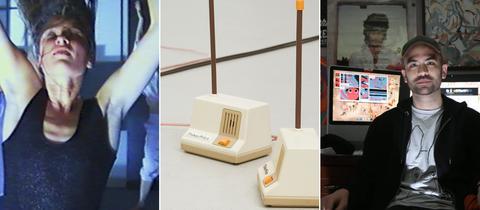 Collage aus folgenden 3 Motiven: Eine Frau bewegt sich / Babyfone im Raum / Michael DeForge sitzt in seinem Büro vor Comics