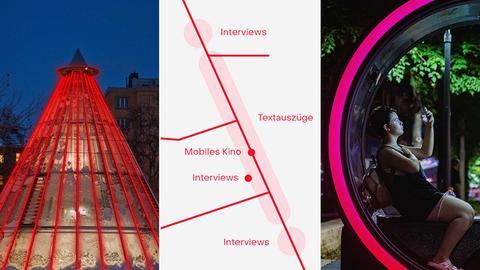 Kombination aus drei Bildern: links eine leuchtender Kegel, eine Ausschnitt eines Flyers und ein Foto mit einer Frau, die in einem Ausstellungsobjekt sitzt.