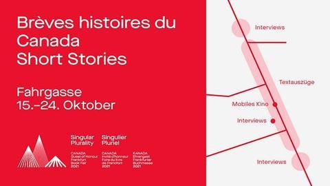 Flyer in rot-weiß mit Ankündigungstext und kleiner abstrahierter Karte.