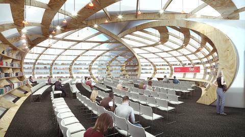 """Innenansicht des neuen """"Frankfurt Pavilion"""" auf der Agora."""