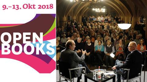 Logo Open Books und Impressionen aus dem Vorjahr des Lesefests