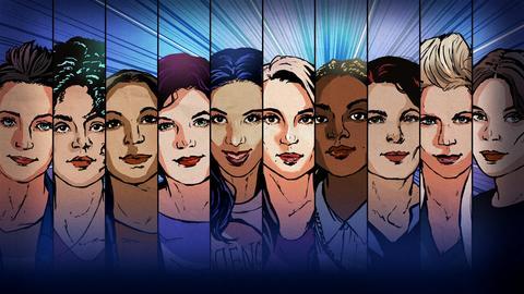 Comicartige Gesichter von zehn Frauen