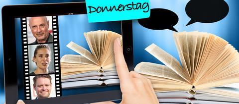Links sind bekannte Autoren auf einem Tablet zu sehen, rechts ein geöffnetes Buch mit Sprechblasen