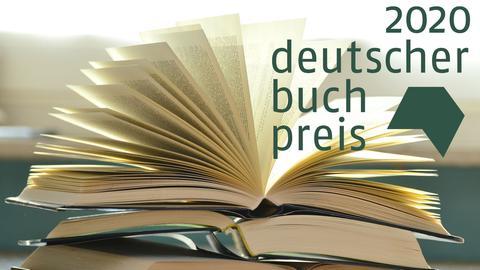 Ein aufgeschlagenes Buch, darüber das Logo des Deutschen Buchpreises.