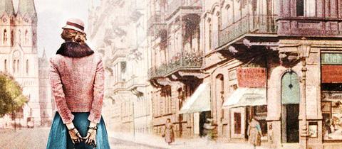 Zeichnung Frau geht durch Wilhelmstraße in Wiesbaden