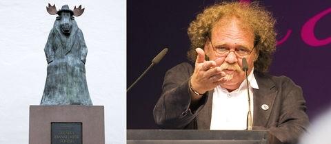 Die Kombination zeigt ein Foto der Elchskulptur, die vor der Caricatura Frankfurt steht und ein Portrait von Achim Frenz