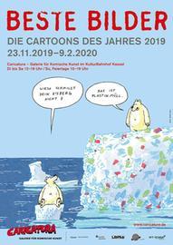 """Ausstellungsplakat """"Beste Bilder - Die Cartoons des Jahres 2019"""" in der Caricatura Galerie in Kassel"""