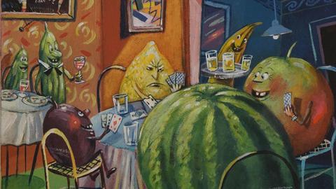 Früchte mit Gesichtern: Ausschnitt aus einem Cartoon von Ernst Kahl.