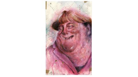 Angela-Merkel-Karikatur von Frank Hoppmann