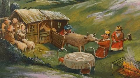 """""""Die hungrigen drei Könige"""" - Werk von Ernst Kahl, das in der Caricatura-Schau """"Vergessene Katastrophen"""" zu sehen ist."""