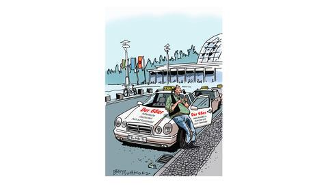 """Karikatur von Butschkow - Alt-68er mit besonderem Taxi-Angebot """"Authentische Geschichten auch auf Kurzstrecke!"""""""