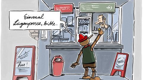"""Lügenpresse-Cartoon von Michael Holtschulte - Pinoccio am Zeitungskiosk """"Einmal Lügenpresse, bitte"""""""