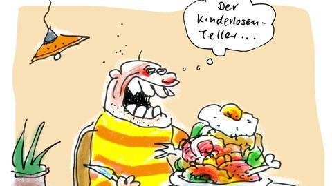 """Cartoon """"Kinderlosenteller"""" von Ari Plikat"""