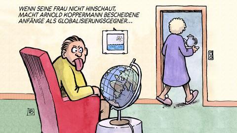 """Cartoon """"Globalisierungsgegner"""" von Harm Bengen"""