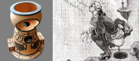 Die Bildkombination zeigt ein Foto einer historischen Toilette und eine Zeichnung, die Casanova in der Hocke auf einer Toilette zeigt.