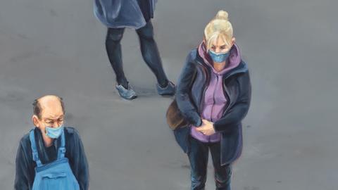 Menschen warten, porträtiert von Malerin Christine Reinckens
