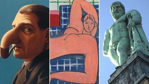Collage aus: René Magritte, La lampe philosophique | Henri Matisse, Großer liegender Akt | Herkules in Kassel