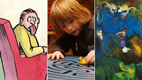 Collage aus einem Harm Bengen-Cartoon, einem spielenden Kind und Emil Noldes Frühmorgenflug