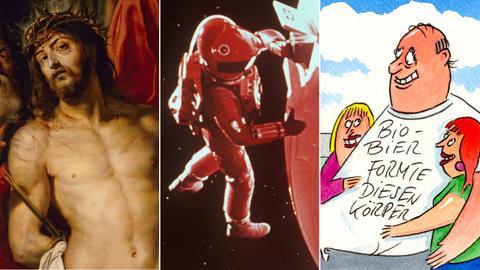 Collage aus Ecce Homo von Rubens, Szene aus 2001: A space Odyssey, Karikatur von Peter Thulke