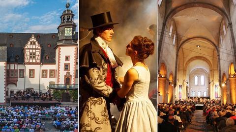 Collage mit Szenen der Festspiele Weilburg, Biedenkopf und dem Rheingau Musik Festival