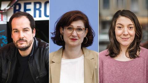 Collage mit Max Czollek, Ferda Ataman und Selma Wels
