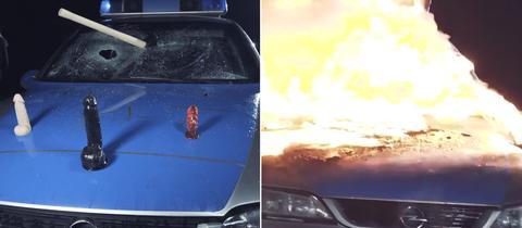 Bildcollage: Polizeiautos mit Dildos dekoriert und brennendes Polizeiauto