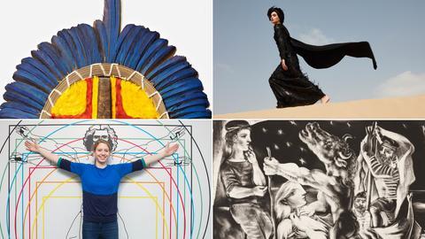 Collage mit vier Bildern zu Ausstellungen, die im 2. Quartal 2019 starten.