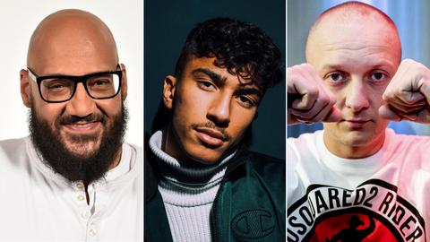 Collage Rapper: Moses Pelham (links), Mero (mitte), Olexesh (rechts)